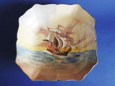 Lovely Royal Doulton 'Famous Ships - The Matthew' Square Dish D5957 c1939